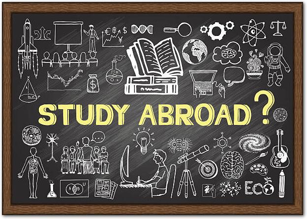 留学のイメージが描かれた黒板の落書き