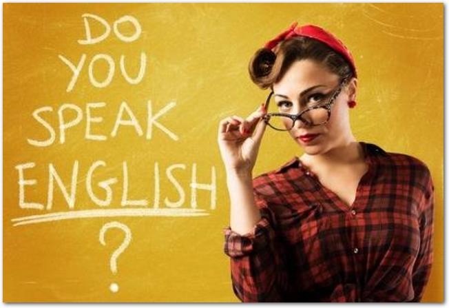 黒ぶちメガネでピンナップスタイルの女性とDo you speak English?の文字